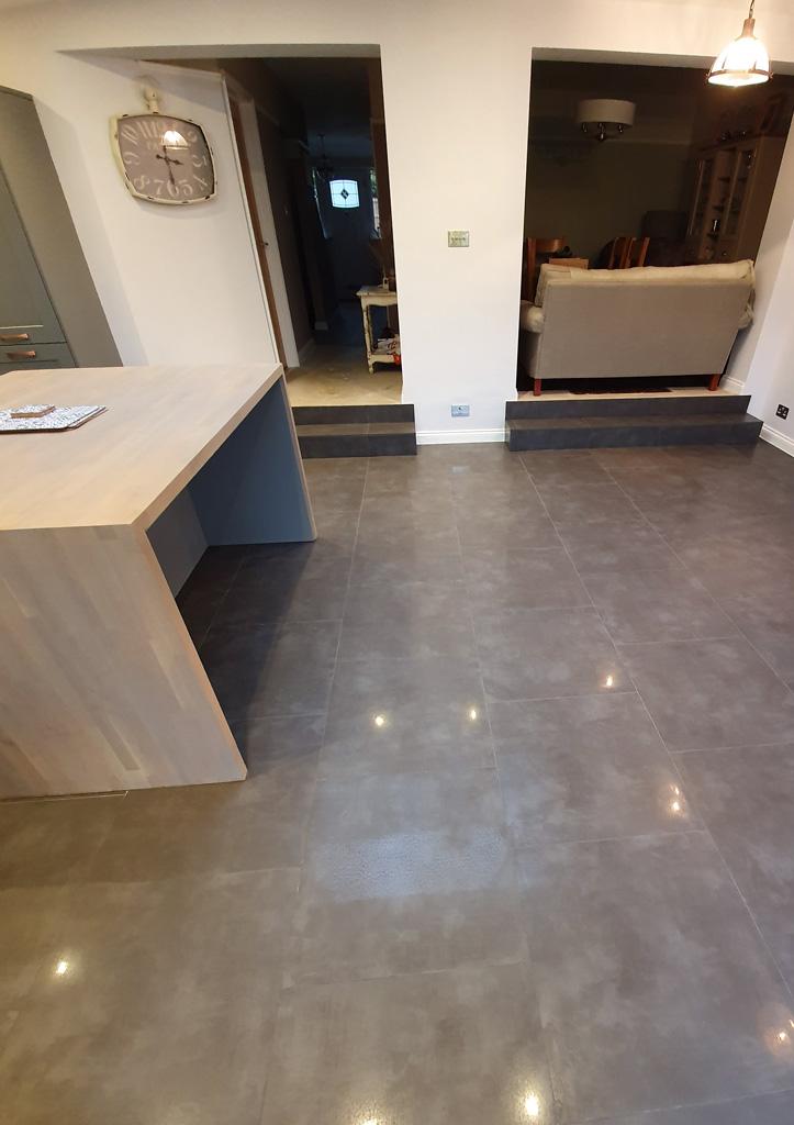 Porcelain tile floor cleaning & restoration in Baldock